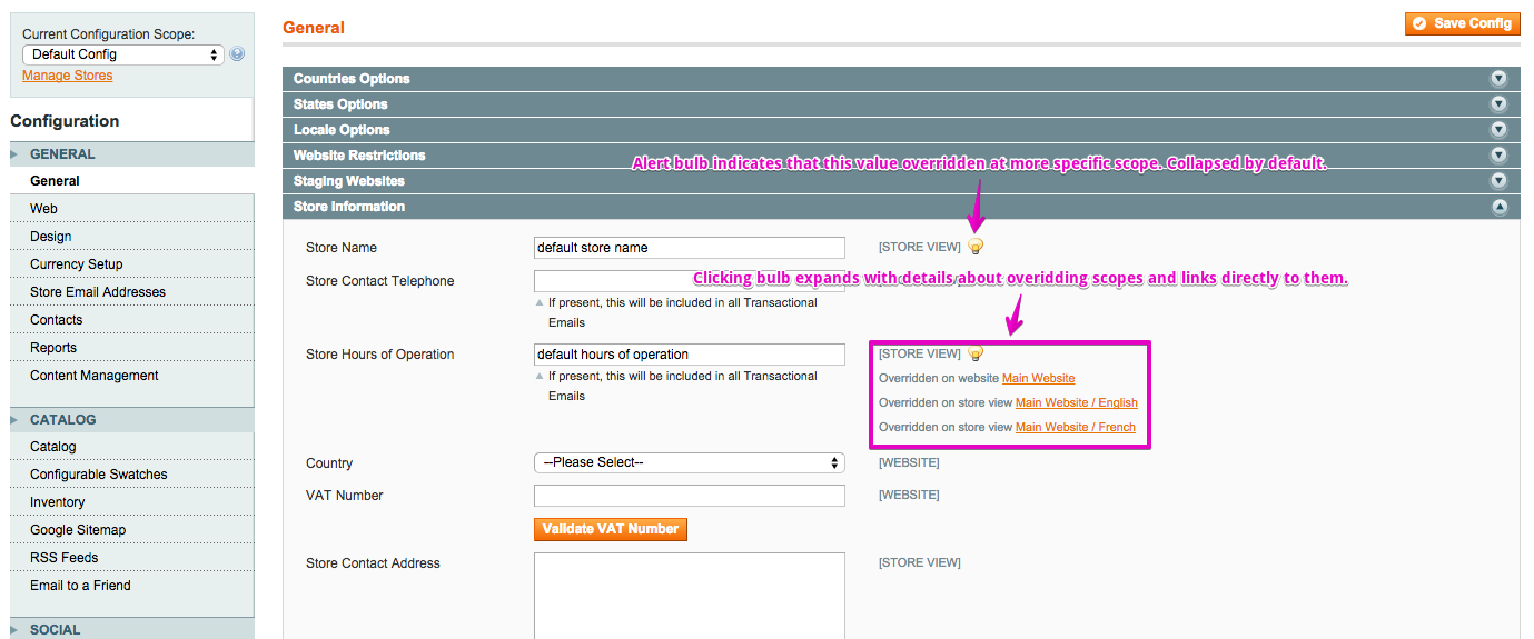 Screenshot of magento System Config Scope Hints Module